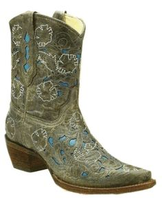 Corral Women's Black-Electric Blue Laser Boot - A1981