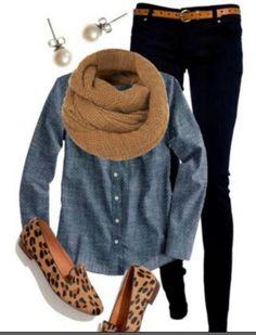 Demin shirt and dark skinny jeans - cheetah accents