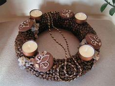 Kávészemes adventi koszorú, Dekoráció, Ünnepi dekoráció