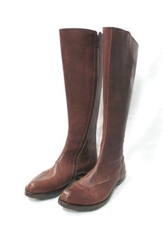 CYDWOQ Womens Brown Asymmetric Unique Side Zip Knee High Leather Boots sz 36 #shopmodo #modoboutique www.modoboutique.com