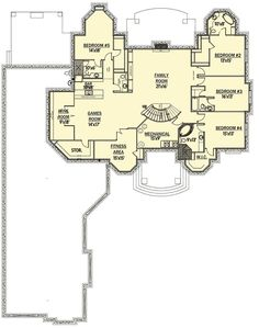Luxury-filled House Plan with Upstairs Game and Theater Rooms - floor plan - Lower Level Dream House Plans, House Floor Plans, Architectural Design House Plans, Architecture Design, Tuscan Bathroom, 4 Season Room, Study Room Design, Upstairs Loft, Mountain House Plans