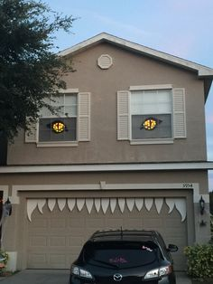 Our Halloween Monster House Decor This Year. Great Idea For Decorating The  Front Of Your Home / Garage Door. Teeth Are Made Of Foam Poster Board And  The ...