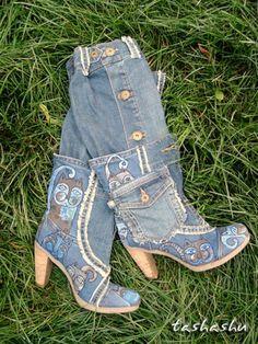 Апгрейд сапог, или безотходная джинса. - Ярмарка Мастеров - ручная работа, handmade