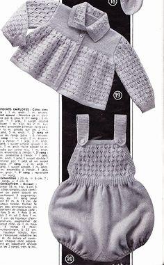 Layette:manteau et combinaison point ajouré