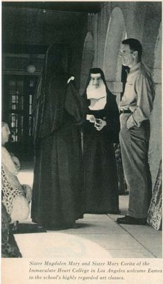 Charles Eames with Sister Mary Corita and Sister Magdalen Mary, teachers at Los Angeles Immaculate Heart College #eames #coritakent