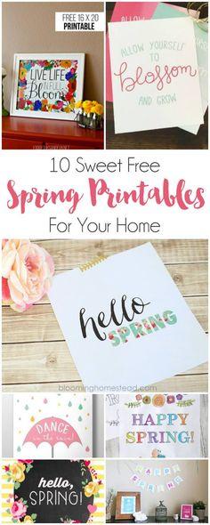 10 Sweet Free Spring Printables  | dawnnicoledesigns.com