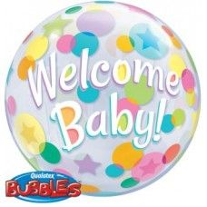 Birthday Cupcake /& Dots Qualatex 22 Inch Bubble Balloon