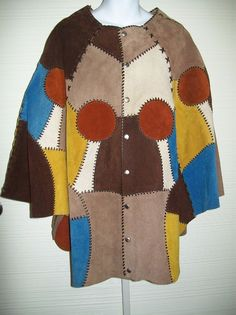 f994f8d8e Vintage Leather Suede Patchwork Cape Poncho OSFA BoHo Hippie Chic Laced  Patches #suedecape #Hippie
