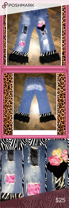 "EUC BOUTIQUE GREGGY GIRL ""Zebra-licious"" Jeans👑5 These are from the high end boutique brand GREGGY GIRL. They are from their ""ZEBRA-LICIOUS"" line., that has been long discontinued, (but was the cutest in my impression 😊) They're a girls size 5. The accents and embellishments are OVER THE TOP GORGEOUS! Retail price was $48 & worth it all!! From zebra print, white and black fur, to hot pink and black crushed velvet, to black lace with metallic gold accents, not to mention the gorgeous array…"