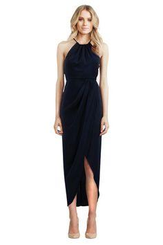Shona Joy - Navy Core High Neck Ruched   GlamCorner   Hire Dresses Online