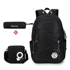 QWEEK Waterproof Oxford Fabric Boys School Bags Backpack for Teenagers Pencil Case Blue Book Bag Schoolbag 3 Pcs Cool Mochila