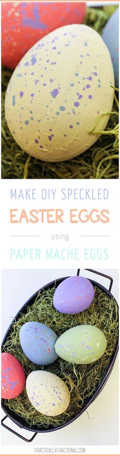 DIY Painted Speckled Easter Eggs If you're looking for a 10 minute Easter decorating project, give these painted paper mache Easter eggs a try! They're fun, quick, and cute! Easter Activities For Kids, Party Activities, Easter Crafts For Kids, Easter Ideas, Easter Decor, Dinosaur Eggs, Paper Mache Crafts, Lol, Easter Party