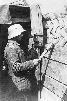 WW1, 1916, Somme, German soldier with a hand grenade.