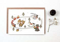 Christmas Presents  Greeting Card by whimsywhimsical on Etsy