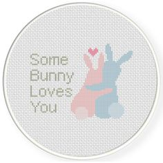 Some Bunny Loves You Cross Stitch Illustration
