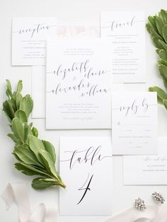 Romantic and Simple Calligraphy Wedding Suite with Floral Envelope Liner | Calligraphy Table Numbers | Romantic Wedding Invitations | Navy and Blush Wedding Invites