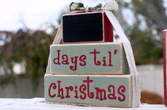 Christmas Countdown blocks. Chalkboard.. $25.00, via Etsy.
