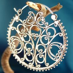 925 Sterling Silver Large Drop Hoop Earrings ~FILLIGREE DISK~ E82  $42.95