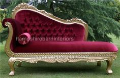 A red vevlet and gold leaf hilton chaise longue | Hampshire Barn Interiors