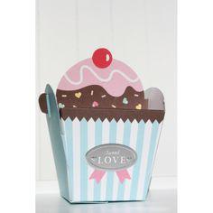 Caja con Forma de Cupcake en Celeste CARULA DECORA TU FIESTA