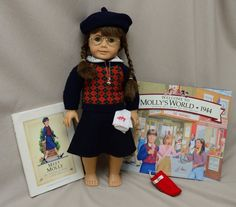 American Girl Doll Molly Pleasant Co Meet Clothes Glasses Books Accessories Lot #AmericanGirl #DollswithClothingAccessories