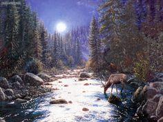 Deer In Moonlight by Mark Keathley