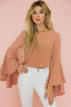 Evelyn Bell-Sleeve Top - Terracotta