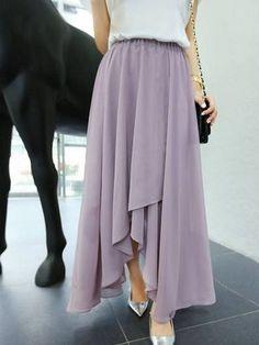 Sweet Style Elastic Waist Irregular Hem Flouncing Long Chiffon Skirt For Women Dressy Outfits, Cute Outfits, Fashion Outfits, Womens Fashion, Fashion Shoes, Lilac Dress, Dress Up, Long Chiffon Skirt, Elegantes Outfit
