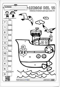 Amigos del 10 de actiludis.com (Colorea el barco) Math 2, 1st Grade Math, Math Games, First Grade, Learning Activities, School Worksheets, Kindergarten Worksheets, Math Sheets, Kids English