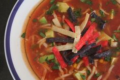 A hearty vegetarian recipe for tortilla soup Maybe add a few more beans... Black And Pinto Beans