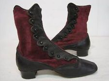 Leather & Velvet Ladies Antique Victorian High-Top Button-Up Shoes 1860 Patent