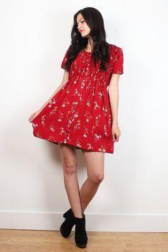 Vintage 90s Dress Red Spring Floral Print Smocked Bodice Babydoll Dress 1990s Soft Grunge Mini Dress Lolita Tshirt Dress Boho M Medium L #vintage #etsy #1990s #90s #soft #grunge #floral #smocked #bodice #tshirt #babydoll #dress