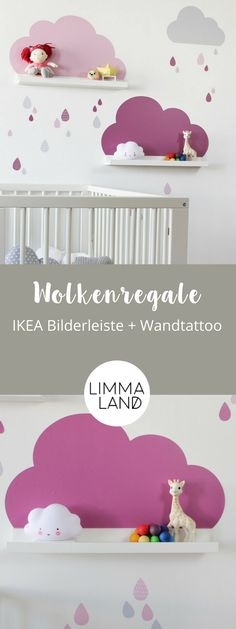 Clouds Nursery Decor: With wall decals suitable for the IKEA Picture Bars. - Meral Kösem - - Clouds Nursery Decor: With wall decals suitable for the IKEA Picture Bars. Cloud Nursery Decor, Clouds Nursery, Wall Stickers Clouds, Wall Decals, Wallpaper Clouds, Baby Bedroom, Kids Bedroom, Bedroom Ideas, Ikea Deco