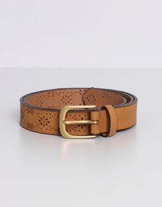 Pull&Bear - mujer - cinturones - cinturón troquelado flores - arena…