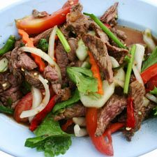 Thai beef salad -- looks delicious except a 1/4 cup of Thai chili peppers would probably kill me and what is kecap manis?