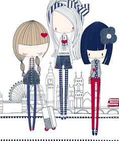 Fofiisimas!! All about surface pattern ,textiles and graphics: A few more red white & blue girls