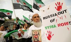 October 9th. 2015: A protest in Washington against Russia's bombing campaign supporting the Assad regime in Syria.