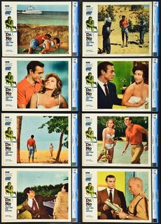 """Dr. No (United Artists, 1962). Lobby Card Set of 8 (11"""" X 14"""").  Ian Fleming's superspy James Bond made his big screen debut in this thriller that would spawn many sequels and copies in the 1960s dealing with Cold War espionage. Sean Connery made the role his own from the first outing."""