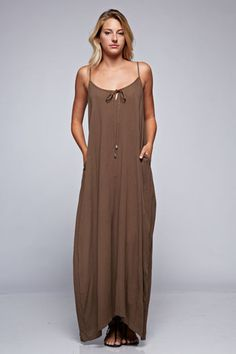 Billowy Maxi Dress With Pockets (2 colors available)