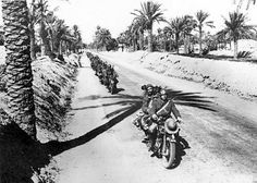 A column of Italian Bersaglieri with their Moto Guzzi motorcycles in Lybia during1941