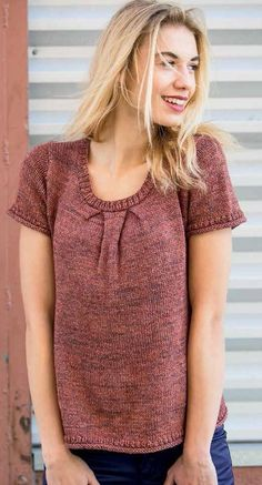 """Knitting Pattern for Box Pleat Tee - A softly structured top with flattering pleats that highlight the face and neck, the tee is fitted in the back along princess seams, but with a swingy front shape,36.5 (38.5, 40.5, 42.5, 44.25, 46.5, 48.25, 50.5, 54.5, 57.25)"""" bust."""