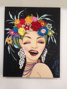 Inspirada em Carmen Miranda - Tela 40 x 50 cm em MDF, pintura, decoração com flores de crochet e chatons
