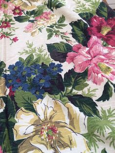 Vintage silky barkcloth fabric floral panel cream background.