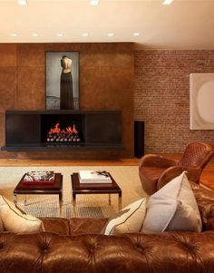Fireplace surround-patinad steel with copper-Elliman The Loft Crosby Street SoHo New York 1
