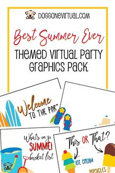 Best Summer Ever Themed Virtual Party Graphics Pack Direct Sales Tips, Home Based Business, Business Ideas, Productivity Apps, Facebook Party, Social Media Images, Business Organization, Work From Home Moms, Party Planning