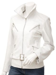 Womens White Leather Biker Jacket  Tempe  229.03 By Caine Leather U.K.  Designer Leather Jackets 95561619fb