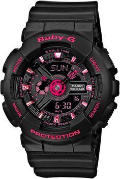 G-Shock Baby-G BA-111-1AER / BA-111-1A, G-Shock Black & Pink Ladies G-Shock Watch for women