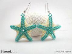 Серьги-звездочки сплетенные из бисера