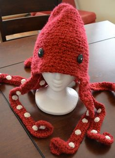 Crimson Red Octopus Hat Crochet by amiamour on Etsy, $40.00