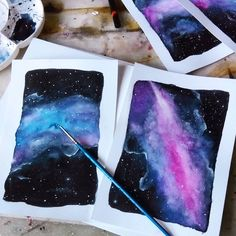 By Rachel Luijk Galaxy aquarell postcards. Some color explosions  these are going to be backgrounds for the zodiac sign cards.  More are coming soon!  #zodiac #signs #zodiacsigns #stars #galaxy #horoscope #constellation #aquarell #watercolor #art #illustration #drawing #artist #beautiful #gallery